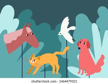 Rod puppets resembling animals in forest. Traditional entertaining theater performance or show and storytelling for children with fairytale characters. Flat cartoon colorful vector illustration.