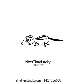 Rodent cartoon character. The ridiculous tired chipmunk is slowly walking. Vector. Conceptual. Next time lucky!