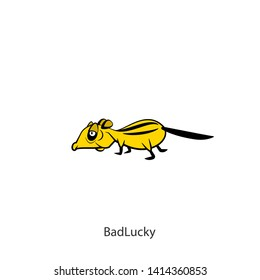 Rodent cartoon character. The ridiculous tired chipmunk is slowly walking. Vector. Conceptual. Next time lucky! Bad lucly!