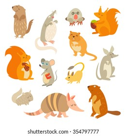 Rodent of the world, a big set vector illustration. Isolated on a white background. Beaver, weasel, squirrel, muskrat, tarbaganchik, muskrat, Battleship, bandicoot