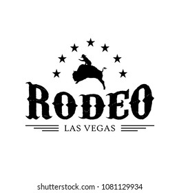 Rodeo badge and logo, cowboy rodeo silhouette