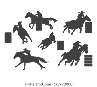 Rodeo Barrel Racer vector and Western Rodeo, Cowgirl Silhouette, Barrel Racer Clip Art