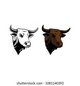 rodeo bull head illustration