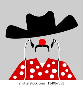 rodeo clown with earphones