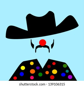 rodeo clown with polka dot shirt