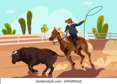 Rodeo competition flat vector illustration. Cartoon cowboy riding horse on arena, following bull with lasso. Traditional Wild West fun