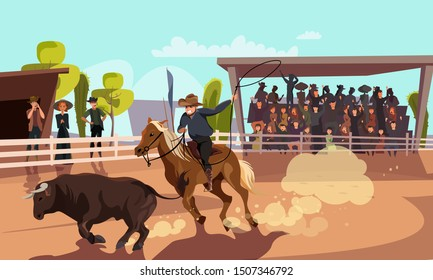 Rodeo competition flat vector illustration. Cartoon cowboy riding horse on arena, following bull with lasso. Excited visitor on bleachers, spectators supporting contestant at traditional Wild West fun