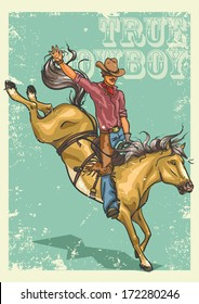 Rodeo Cowboy riding a horse isolated. Poster with sample text.
