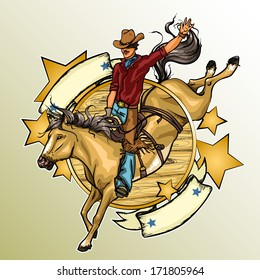 Rodeo Cowboy riding a horse, Label with sample text.