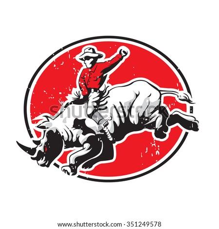 Rodeo Cowboy Riding A Rhino