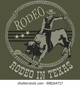 Rodeo cowboy riding a wild bull silhouette. Vector Illustration