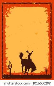 Rodeo cowboy riding wild horse background, Vecor