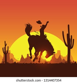 Rodeo cowboy riding wild horse at sunset, vector