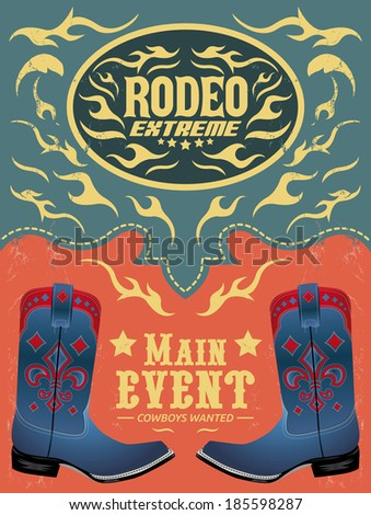 rodeo extreme cowboy event poster vector stock vector royalty free