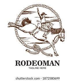 Rodeo guy wih rope and horse in hand drawn style, perfect for tshirt design, rodeo event logo
