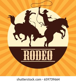 rodeo poster with cowboy and cowgirl silhouettes riding on wild horse and bull. vector illustration