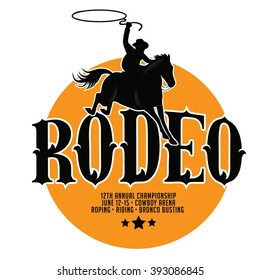 Rodeo poster design with copy space. EPS 10 vector.