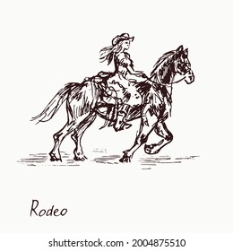 Rodeo queen on horse,  woodcutstyle ink drawing illustration with inscription