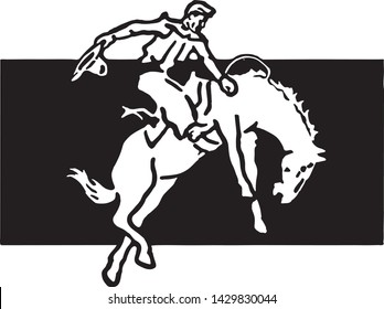 Rodeo Rider 4 - Retro Ad Art Banner for Sporting Events