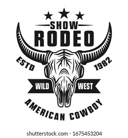 Rodeo show vector monochrome emblem, badge, label, logo or apparel design isolated on white background