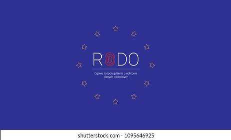 RODO 2018. Rozporzadzenie dotyczace ochrony danych osobowych. Polish GDPR - General Data Protection Regulation. Vector sign, logo. Wektor.