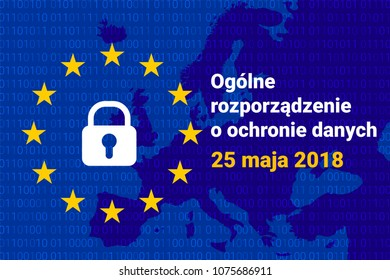 RODO - polish GDPR - General Data Protection Regulation. Poland map. Vector illustration