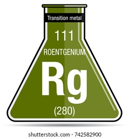 Iron symbol on chemical flask element stock vector royalty free roentgenium symbol on chemical flask element number 111 of the periodic table of the elements urtaz Image collections