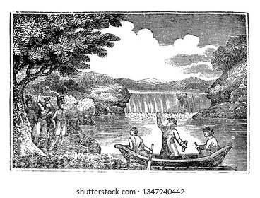 Roger Williams who was a Puritan, an English Reformed theologian crossing the pawtucket river,vintage line drawing or engraving illustration.
