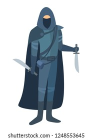A rogue stands in a cloak with two blades. Role-playing stylized image without a face. Flat cartoon design. Realistic body proportions. Vector simple style illustration isolated on white background.