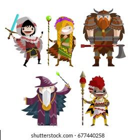 rogue warrior, elf ranger girl, barbarian viking, old wizard and african hunter fantasy characters team