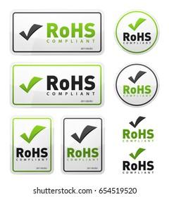 RoHS Compliant Icons Set/ Illustration of a set of rohs compliant certificate signs, illustrating european union directive on hazardous substances