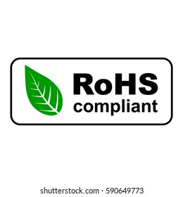 ROHS compliant sign with green leaf, vector illustration.