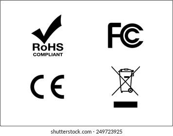 RoHs FC CE Bin symbols