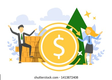 ROI banner, return on investment concept. Profit in finance, invest money and get back, idea of capitalization. Financial planning and budget growth.