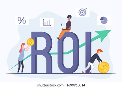 ROI concept design. Return on investment lettering. ROI business marketing. Income growth chart. People invest money to make a profit. Illustration of efficiency of investments in business.
