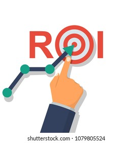 ROI concept. Return on investment. ROI business marketing. Profit income. Businessman managing financial chart. Vector illustration flat design. Isolated on white background. Analysis data.