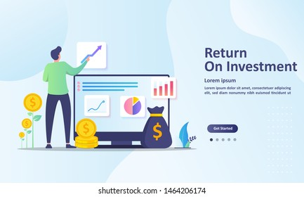ROI concept, Return on investment, people managing financial chart, profit income,  Suitable for web landing page, ui, mobile app, banner template. Vector Illustration.