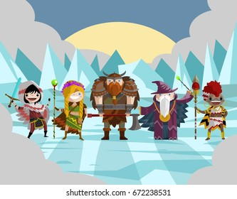role fantasy warriors and wizards team on ice lands