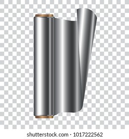 Roll of aluminum foil, isolated vector illustration.