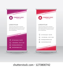 Roll Up Banner Background Vector Template with Abstract Geometric Design