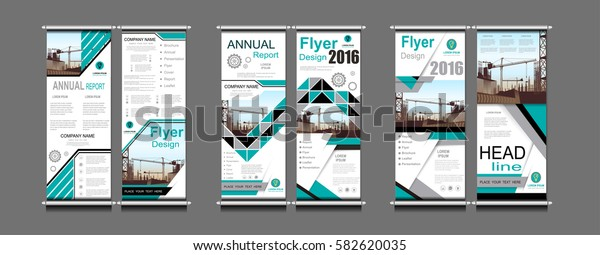 Roll Up Banner blue business Construction annual report brochure flyer design template vector, Leaflet cover presentation geometric background templates, modern publication poster magazine layout