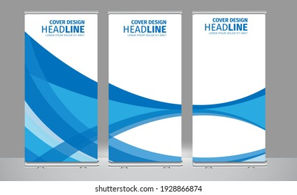 Roll up banner blue colors shape standee business brochure template design. Vertical Abstract colorful geometric texture background Can be adapt to Brochure, Report, Magazine, Poster.