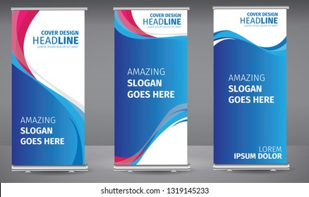 Roll up banner blue, pink line wave standee business brochure template design. Vertical Abstract colorful geometric texture background Can be adapt to Brochure, Report, Magazine, Poster.