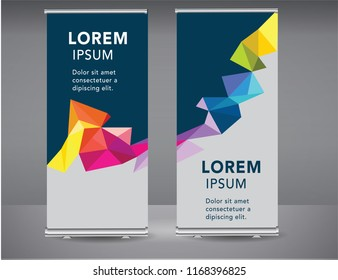 Roll up banner colorful standee business brochure template design. Vertical Abstract blue geometric texture background Can be adapt to Brochure, Report, Magazine, Poster, Corporate Presentation.