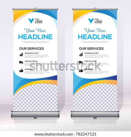 roll banner design template abstract background stock vector