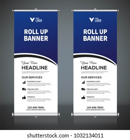 Roll up banner design template, vertical, abstractbackground, pull up design, modern x-banner, rectangle size.