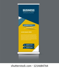 Roll up banner design. Vertical narrow flyer template. Advertising panel layout. Blue and yellow vector illustration.