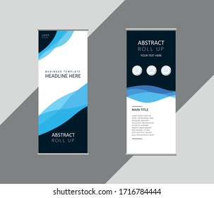 Roll up banner design vertical template vector illustration, abstract background, EPS 10 Blue, Wavy, Vector Template