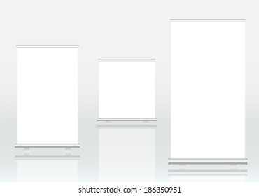 Roll up banner displays, free copy space, vector eps 10