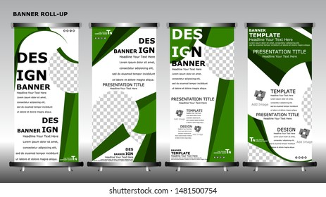 Roll up banner stand brochure flyer vertical template design. Set of vector banners with place for photo.